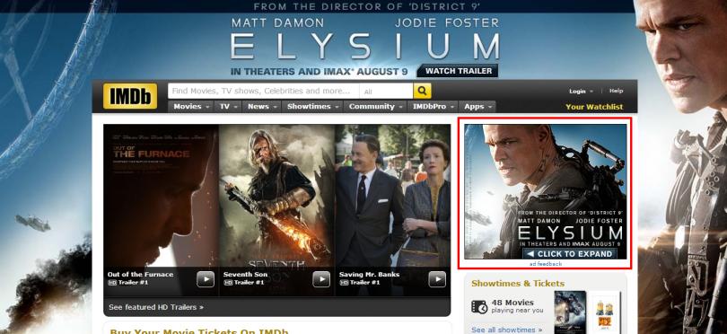 Skinned homepage IMDB