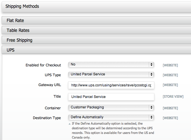 Magento Go shipping options
