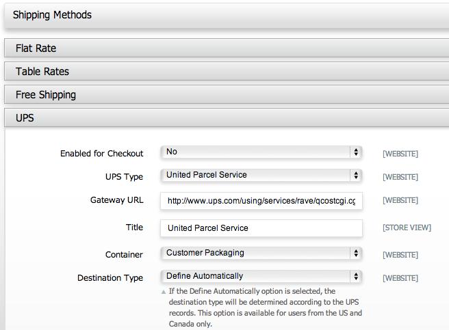 Magento Go shipping options