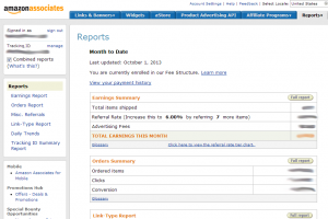 Amazon Associates admin control panel