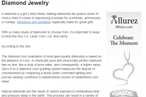Example of Linkshare affiliate link and skyscraper ad for jewelry company