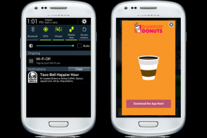 Example of Airpush push notification ad unit (left) and rich media unit (right)