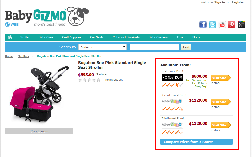 Bugaboo bee pink standard single seat stroller Product Reviews and Prices BabyGizmo.com