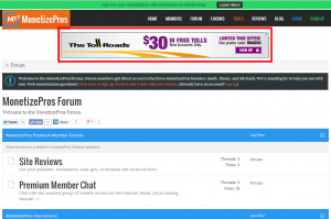 Example of a Conversant 728x90 leaderboard unit running at the MonetizePros forums.