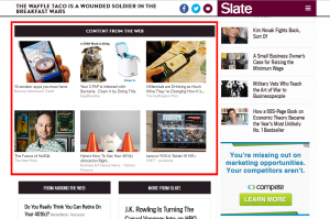 Example of Outbrain implementation (outlined in red) on Slate, at the conclusion of an article