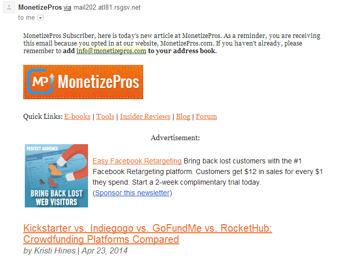 Email Ad CPM Rates - MonetizePros