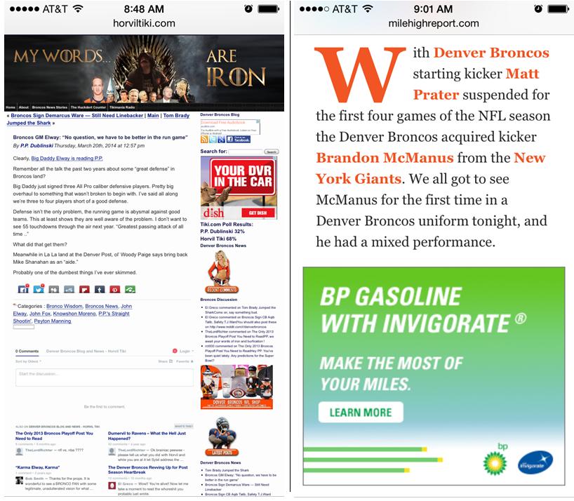 Comparison of Mobile Friendly Site