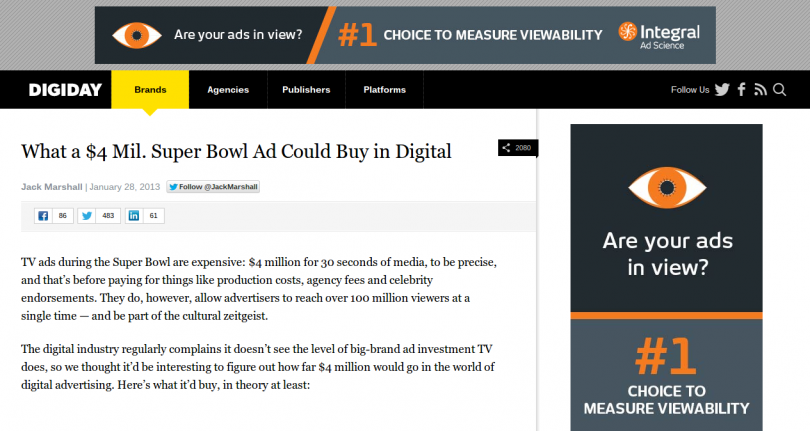 Homepage Takeover Example on Digiday