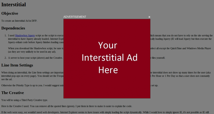 Example of an Interstitial Ad Unit