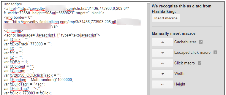 DFP Screenshot When Tags are Recognized