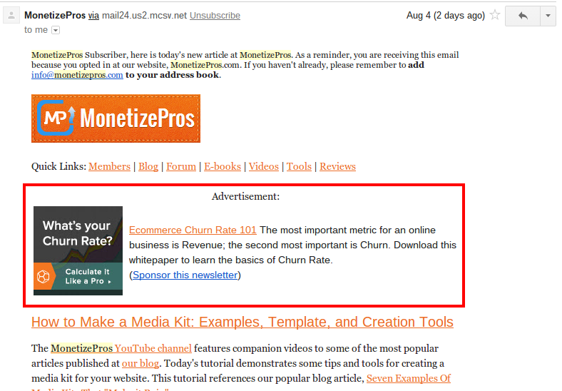 Example of a NewsletterDirecctory.co Email Ad