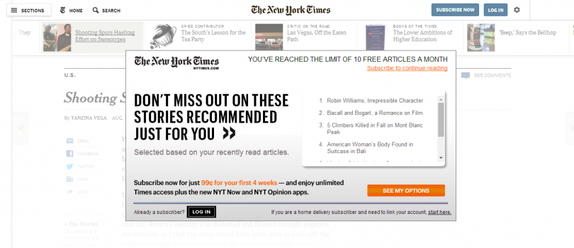 Example of Freemium Article Site: New York Times