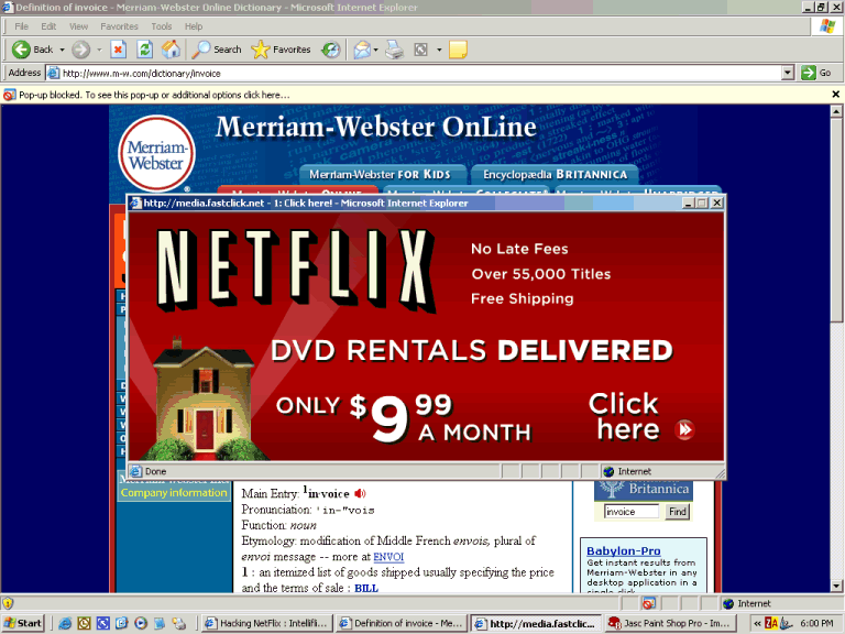Example of a Pop Up Ad