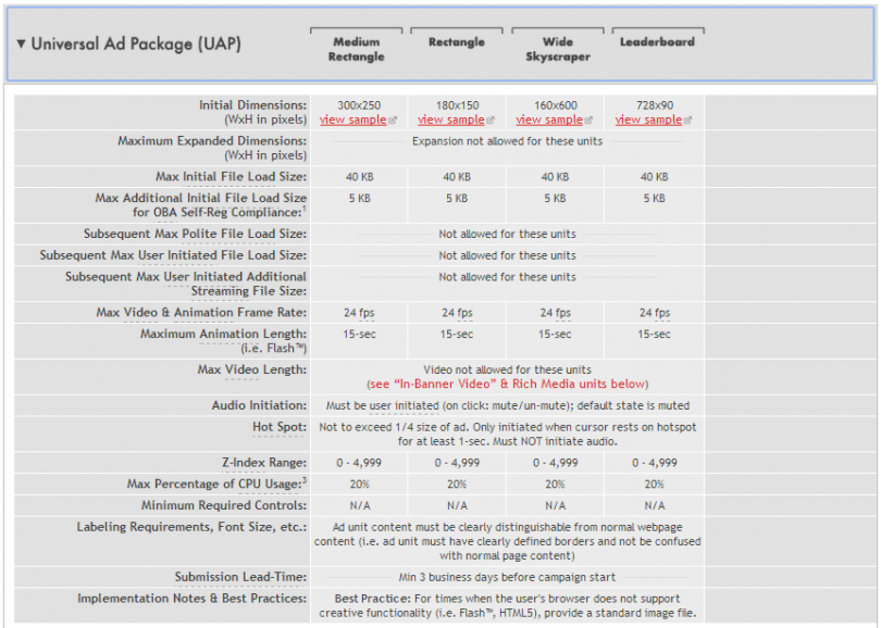 Universal Ad Package Technical Specs