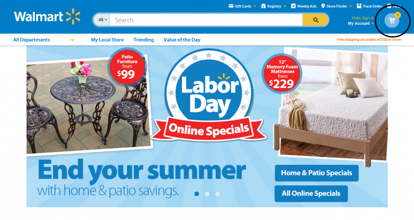 Example of an Online Shopping Cart