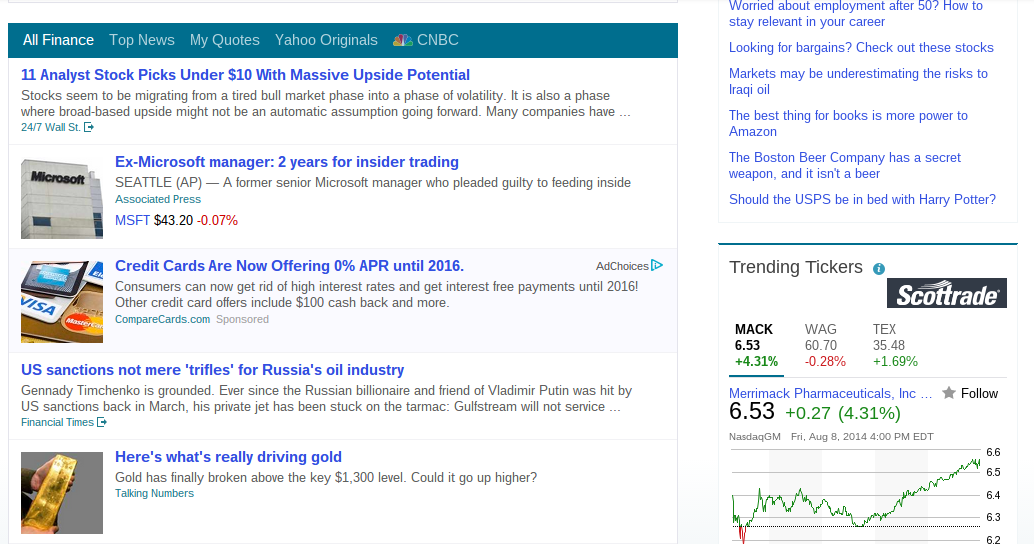 Screenshot of Yahoo Finance with Ad Examples