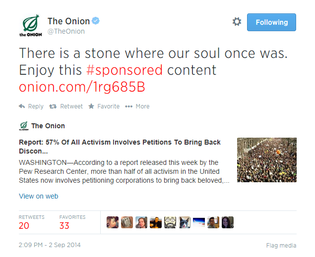 Example of a Sponsored Tweet from The Onion