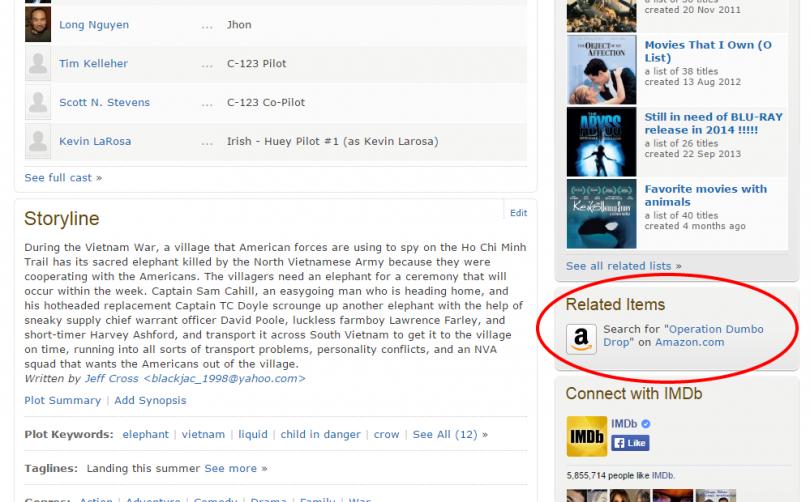 Example of Affiliate Marketing used on IMDb