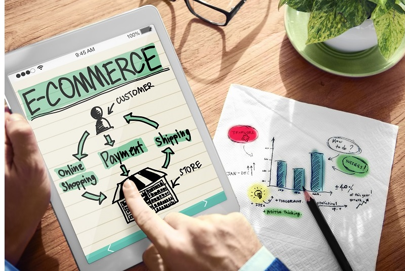 Digital Online Marketing E-Commerce Office Working Concept