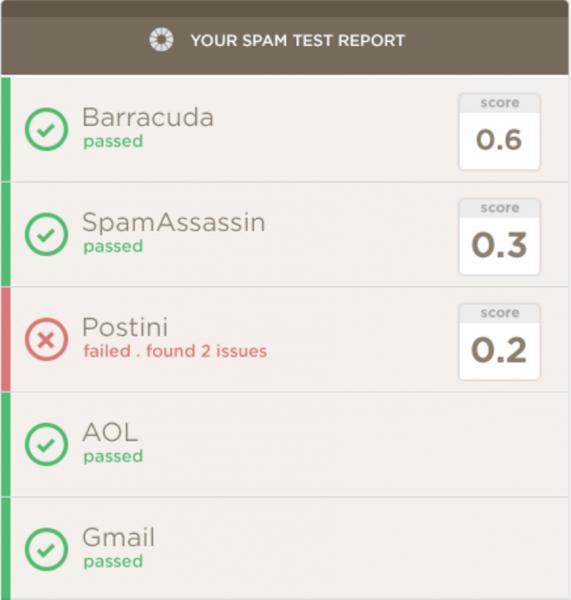 Litmus spam test report