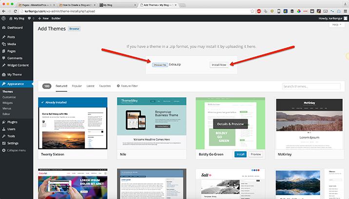 Installing-a-Wordpress-theme