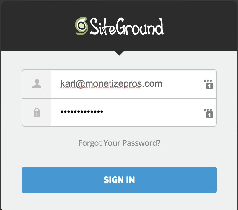 Log in to the SiteGround user area