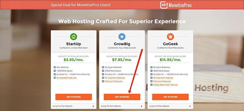 Choosing a hosting package