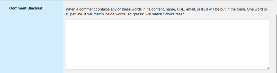 Blacklisting spam words for comments