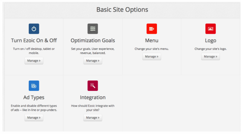 Ezoic Review for Publishers - Ezoic Basic Site Options