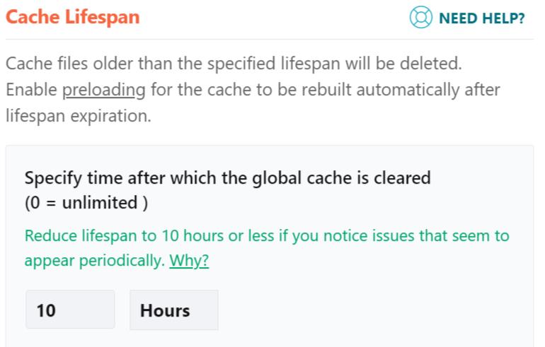 WordPress plugin image of cache life span