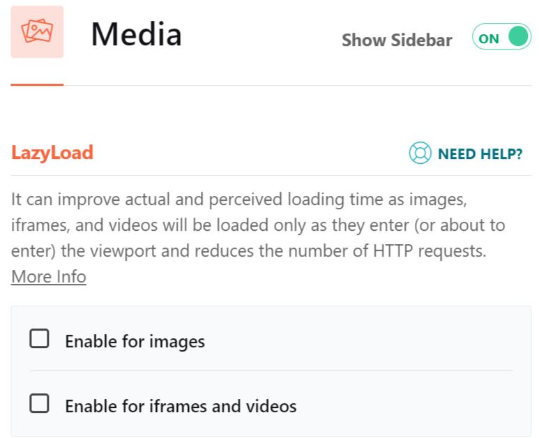 image of media option in WP Rocket plugin